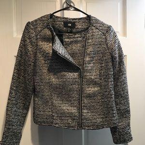 H&M Metallic Silver & Black Tweed Jacket